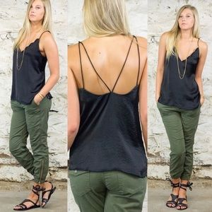 Free People Black Satin Scallop V neck Cami Top